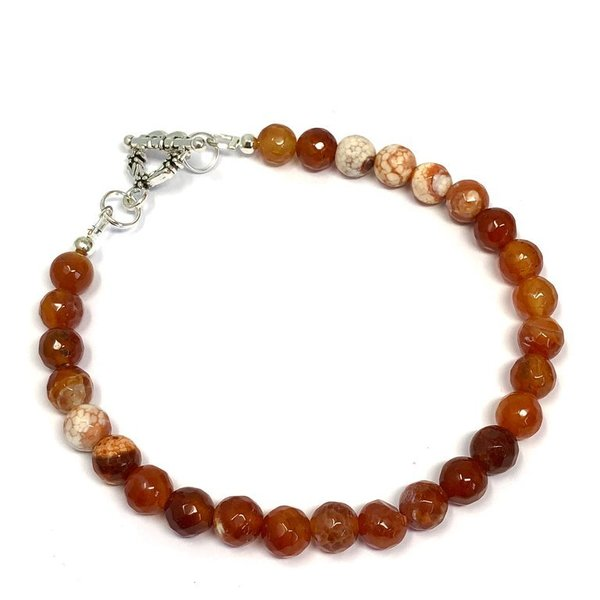 Fire Agate Toggle Ankle Bracelet Named Fi