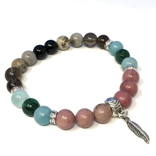 Bespoke Crystal Healing Feather Charm Bracelet - Arthritis Support
