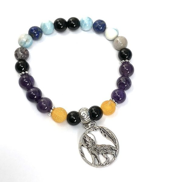 Bespoke Crystal Healing Wolf Charm Bracelet - Astral Travel