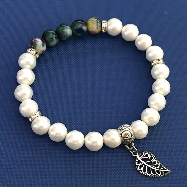 Special New Jade & Pearl Power Bead Charm Bracelet
