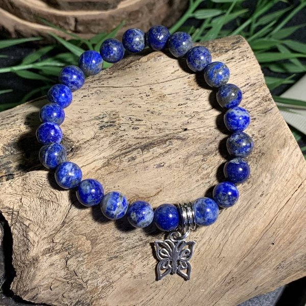 Lapis Lazuli Bracelet with Butterfly Charm Named Shania ❤️
