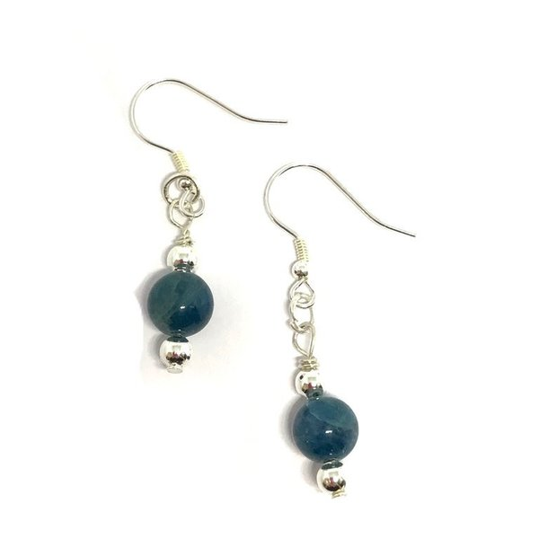 Sterling Silver Blue Apatite Dropper Earrings 'SLIMSY'