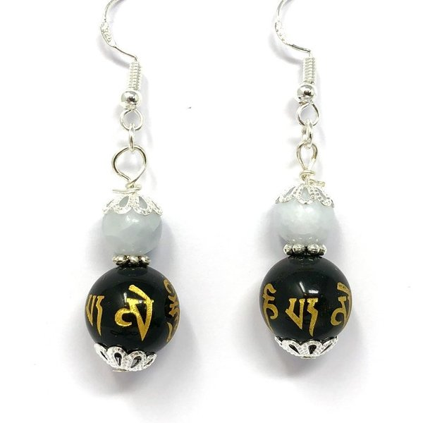Black Obsidian and Blue Calcite Om Mani Earrings 'Luna'