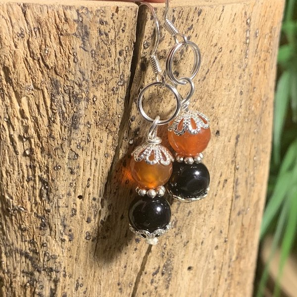 Sterling SIlver Black Tourmaline and Fire Agate Dropper Earrings 'FI'
