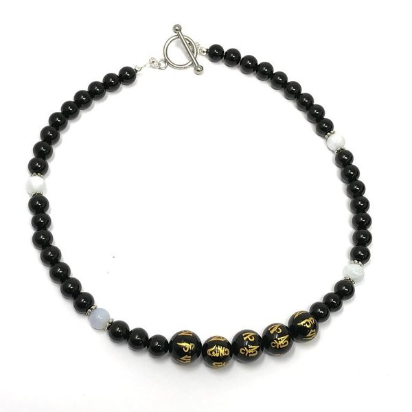 Black Obsidian and Blue Calcite Om Mani Necklace 'Louise'