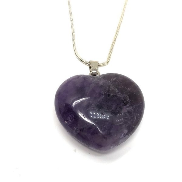 Amethyst Heart Pendant with chain 'Yvonne'