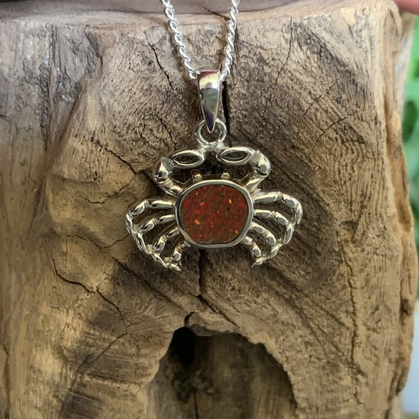 Fire Opal Crab Pendant Named Crimply