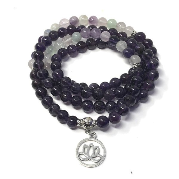 Amethyst and Fluorite Crystal Healing Mala Beads 'Sarah'
