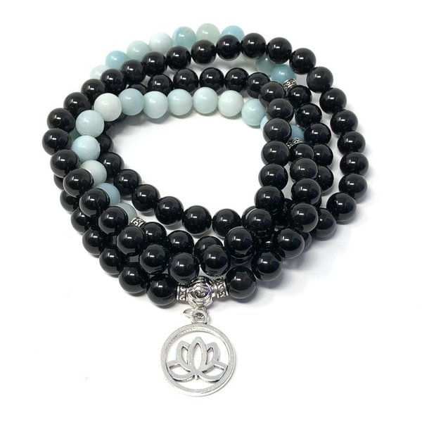 Black Tourmaline and Amazonite Crystal Healing Mala Beads 'BEN'