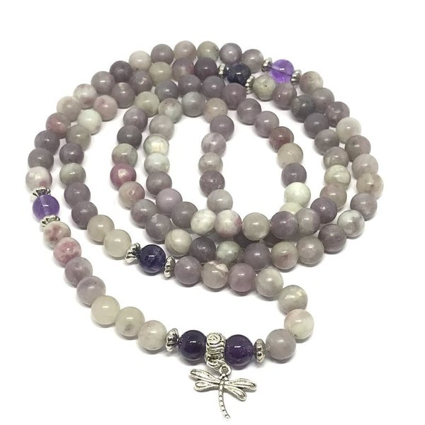 Bespoke Lepidolite Crystal Healing Mala Prayer Beads 'Liliana'