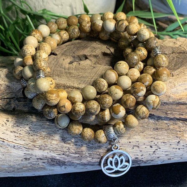 Bespoke Picture Jasper Mala Prayer Beads Named Omaly