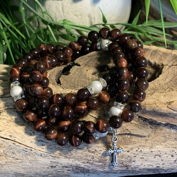 Bespoke Red Tiger Eye Crystal Healing Mala Prayer Beads Named Timmy