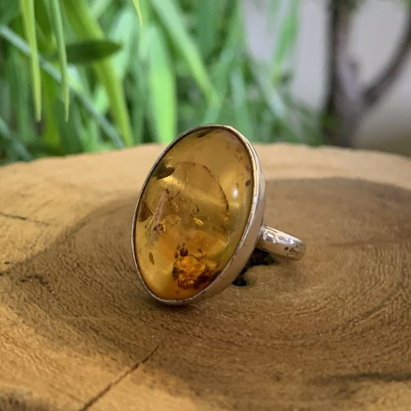 Amber Ring in Sterling Silver, size L Named Oliver