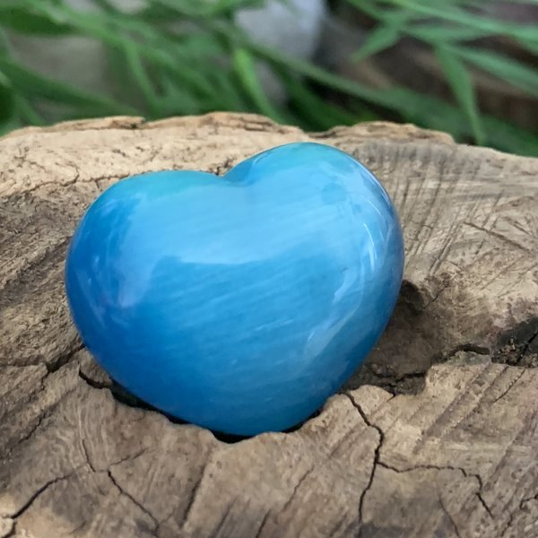 Turquoise Blue Cats Eye Puff Heart Named Carley